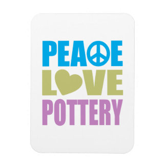 Peace Love Pottery Rectangular Photo Magnet