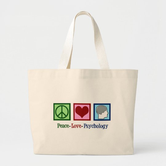 Peace Love Psychology Cute Psychologist Large Tote Bag