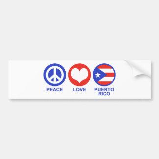 Peace Love Puerto Rico Bumper Sticker