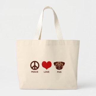 Peace Love Pug Jumbo Tote Bag
