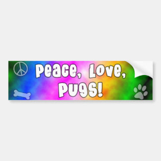 Peace Love Pugs Bumper Sticker