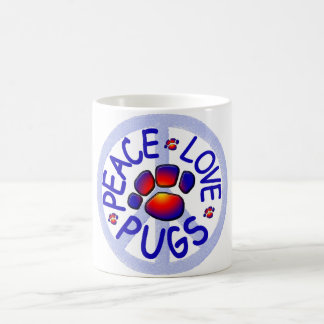 Peace Love Pugs Ceramic Coffee Mug