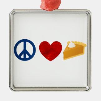 Peace, Love, Pumpkin Pie Metal Ornament