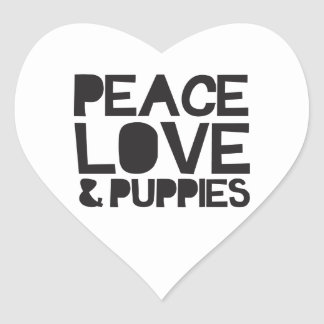 Peace Love & Puppies Heart Sticker