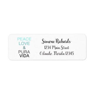 Peace Love Pura Vida Custom Return Address Label