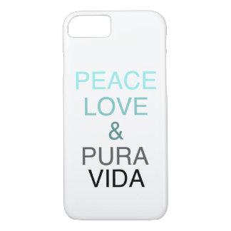 Peace Love Pura Vida Teal & Black Phone Case