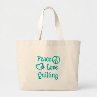 Peace Love Quilting Jumbo Tote Bag