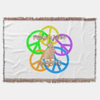 Peace Love Rabbits Throw Blanket