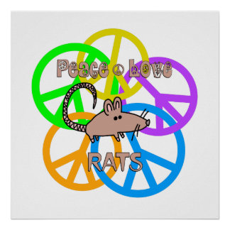Peace Love Rats Poster