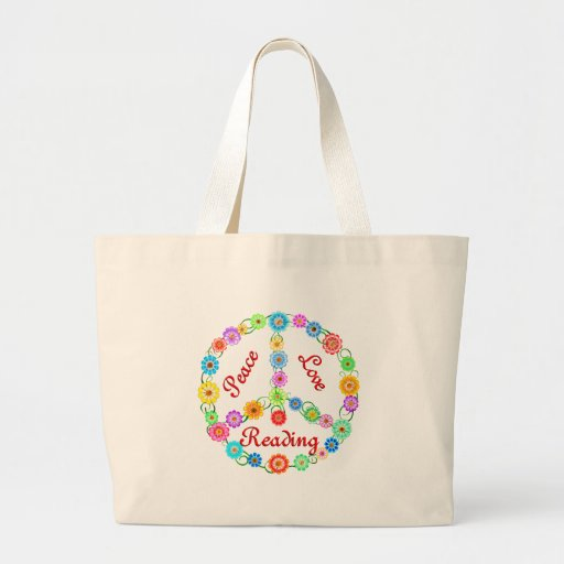 Peace Love Reading Canvas Bag