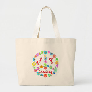 Peace Love Reading Canvas Bag