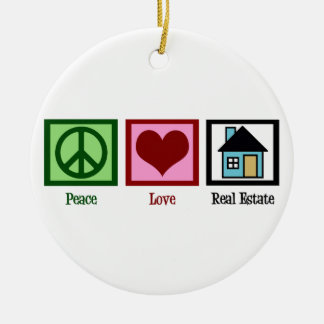 Peace Love Real Estate Ceramic Ornament