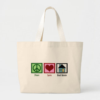 Peace Love Real Estate Large Tote Bag