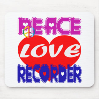 Peace Love Recorder Mouse Pad
