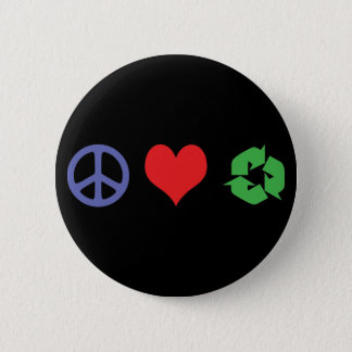 Peace Love Recycle 6 Cm Round Badge