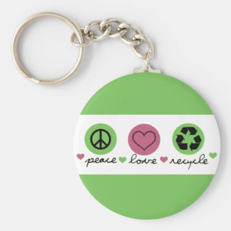 Peace, Love, Recycle. Key Ring