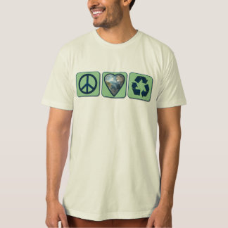 Peace Love Recycle Mens Organic T-Shirt