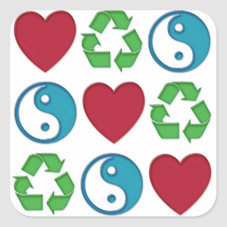 Peace Love Recycle Square Sticker