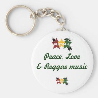"""peace,love&reggae music"" basic round button key ring"