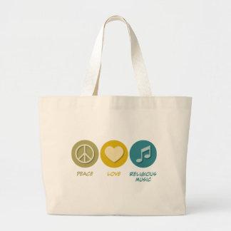 Peace Love Religious Music Tote Bag
