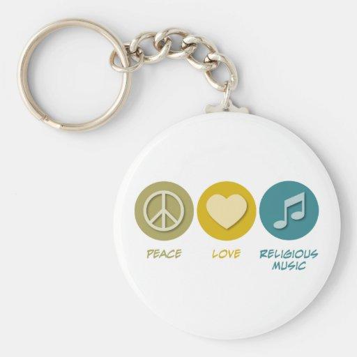 Peace Love Religious Music Keychain