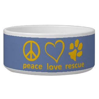 Peace/Love/Rescue Bowl-Blue