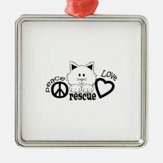 PEACE LOVE RESCUE Silver-Colored SQUARE DECORATION