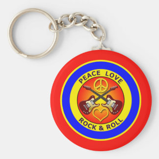 PEACE LOVE ROCK AND ROLL BASIC ROUND BUTTON KEY RING