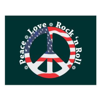 Peace, Love, Rock n Roll Postcard