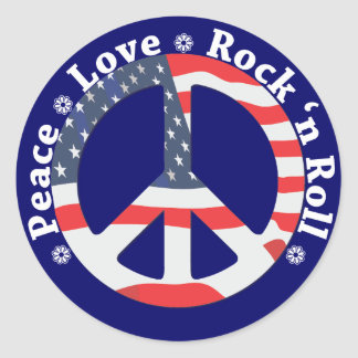 Peace, Love, Rock n Roll Round Sticker