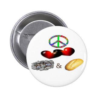 Peace Love Rock Roll Pinback Buttons