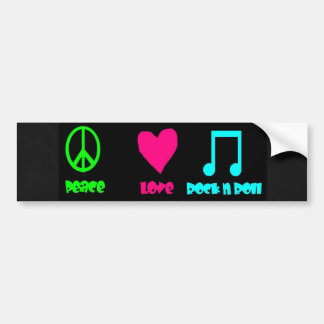 Peace Love Rock  & Roll Bumper Sticker