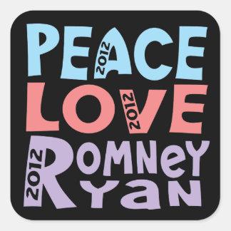 peace love Romney Ryan Square Sticker