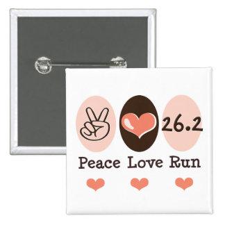 Peace Love Run 26.2 Marathon Button