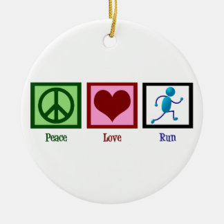 Peace Love Run Ceramic Ornament