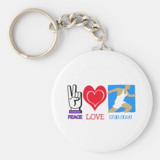 PEACE LOVE RUN KEY RING