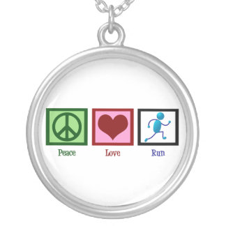 Peace Love Run Silver Plated Necklace