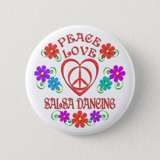 Peace Love Salsa Dancing 6 Cm Round Badge