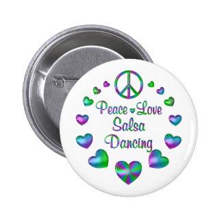 Peace Love Salsa Dancing 6 Cm Round Badge