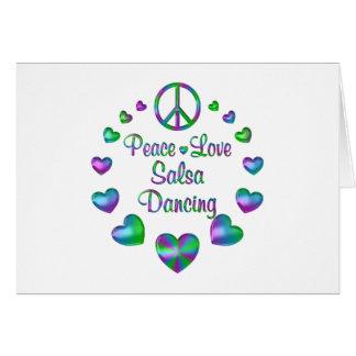 Peace Love Salsa Dancing Card
