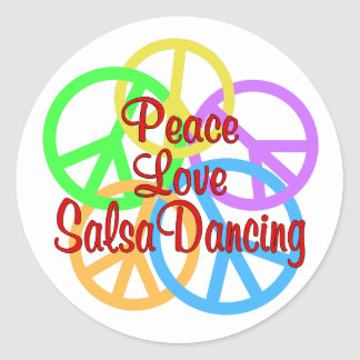 Peace Love Salsa Dancing Classic Round Sticker