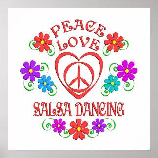Peace Love Salsa Dancing Poster