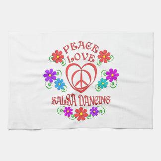 Peace Love Salsa Dancing Tea Towel
