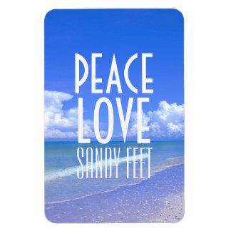 Peace Love Sandy Feet Rectangular Magnets