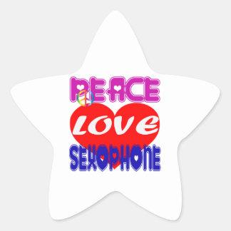 Peace Love Saxophone Star Sticker