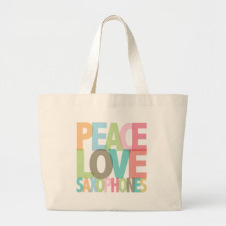 Peace Love Saxophones Tees & Gifts Large Tote Bag