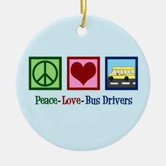 Peace Love School Bus Driver Ceramic Ornament