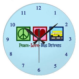 Peace Love School Bus Driver Large Clock