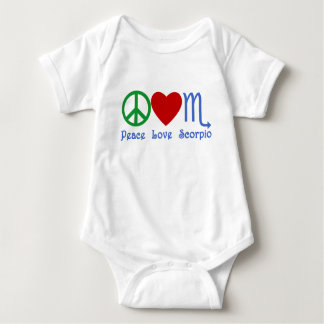 Peace Love Scorpio Zodiac Design Baby Bodysuit