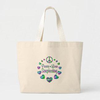 Peace Love Scrapbooking Large Tote Bag